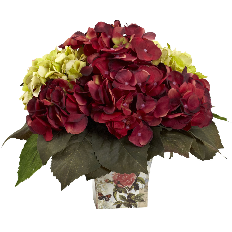 Green burgundy hydrangea arrangement all seasons gifts
