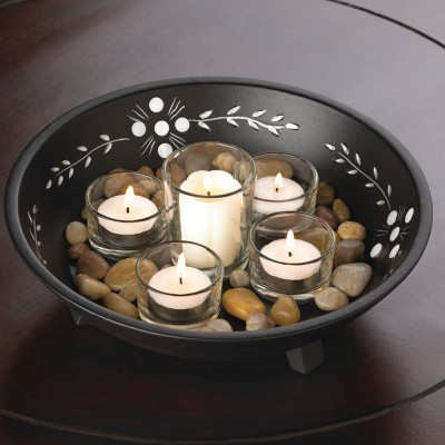 Decorative Bowl With Rocks And Candle Set