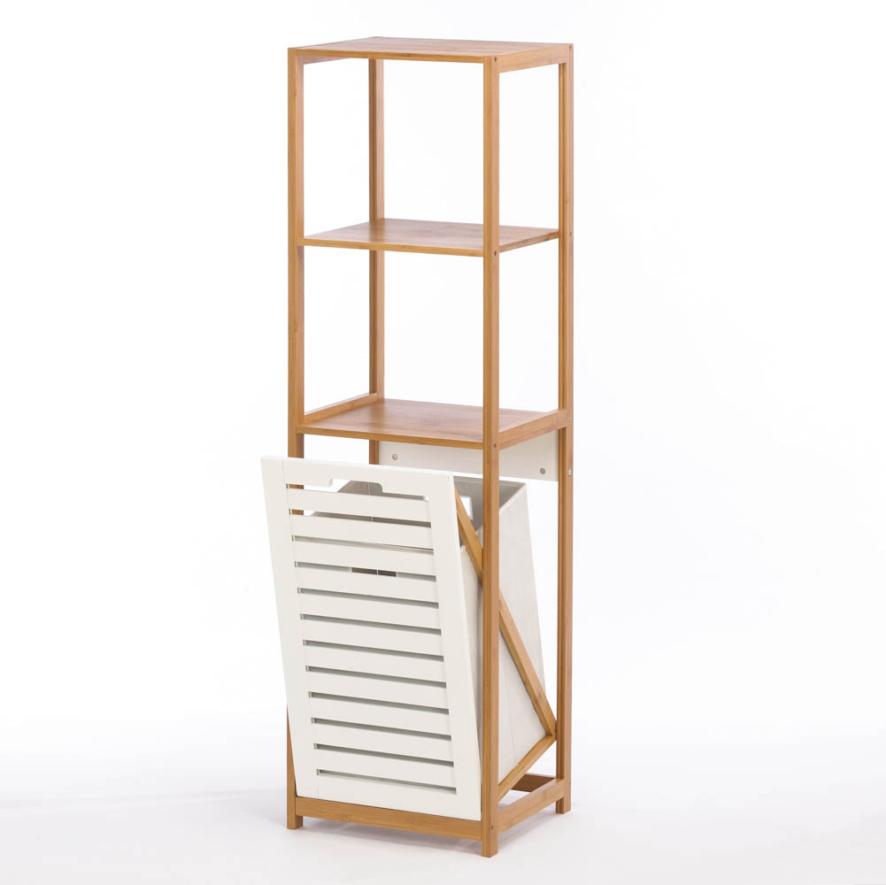 Bamboo Hamper With Storage Shelves