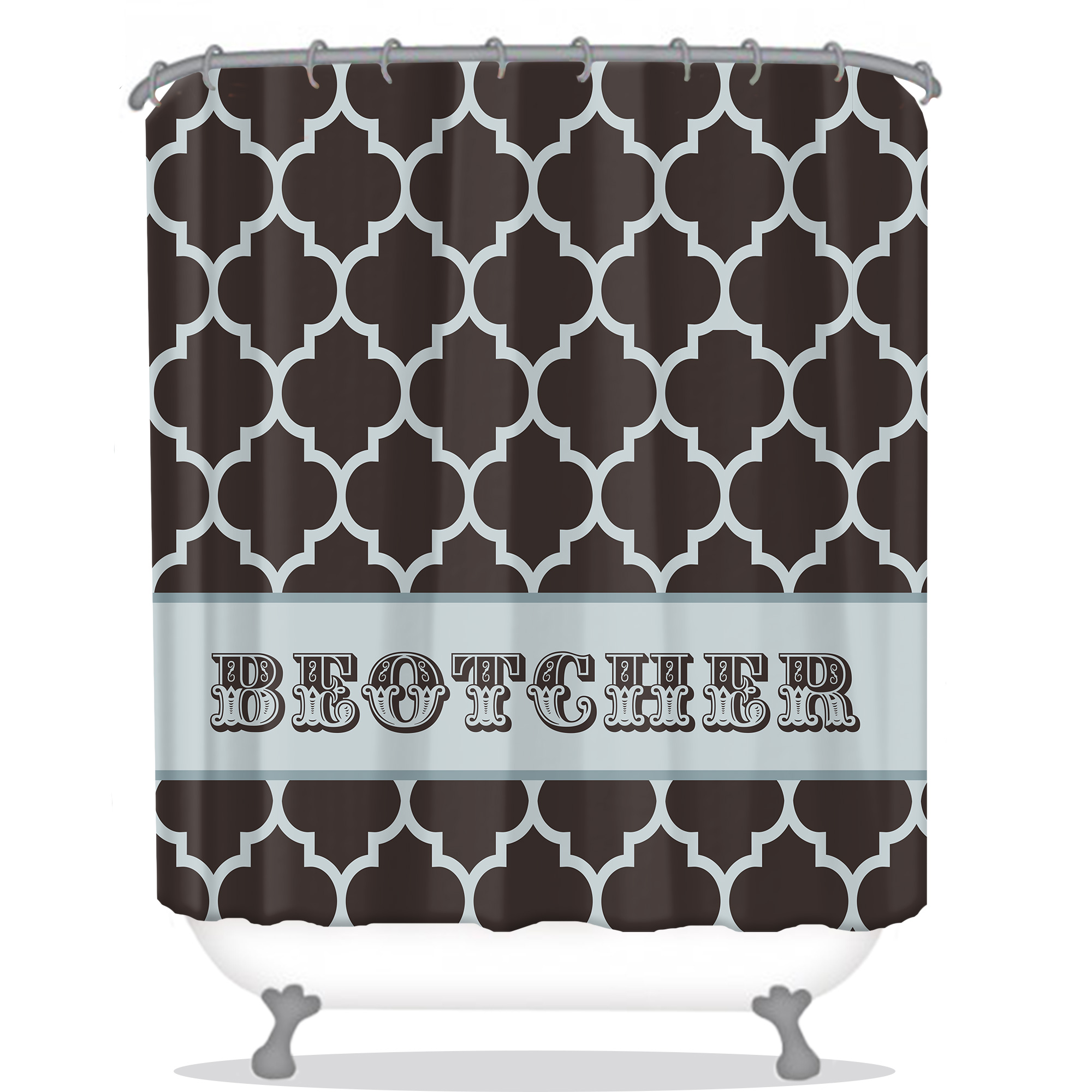 Quatrefoil Pattern Personalized Shower Curtain All Seasons Gifts